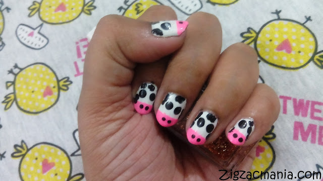 Cow Print Nail Art Step By Step: Tutorial (No Nail Art Tools)