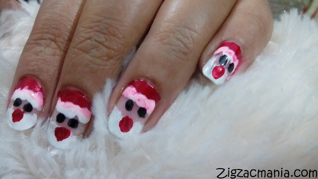 Santa (Christmas) Inspired Nail Art Step By Step Tutorial