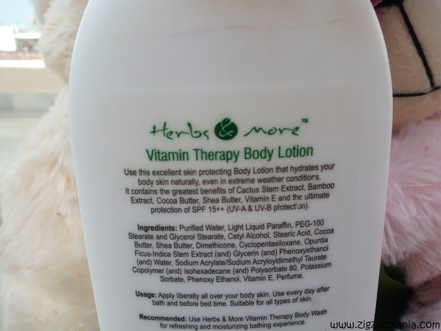 Herbs & More Vitamin Therapy Body Lotion Ingredients