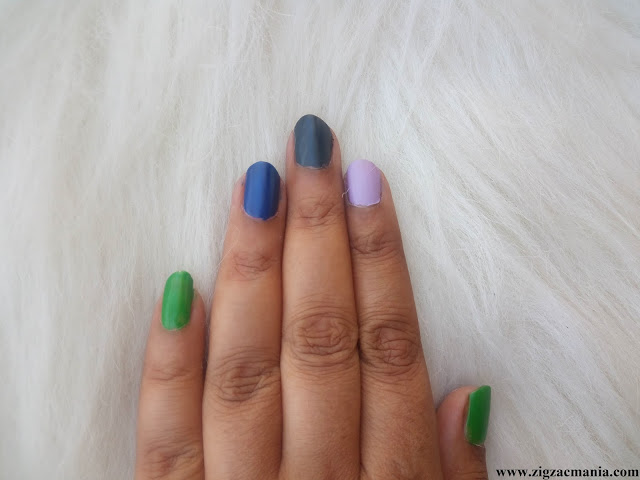 Nykaa Matte Nail Paints (Squid ink Mousse, Lavender Panna Cotta & Blueberry Compote Swatches