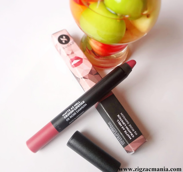 Sugar Cosmetics Matte As Hell Crayon Lipstick Rose Dawson Review