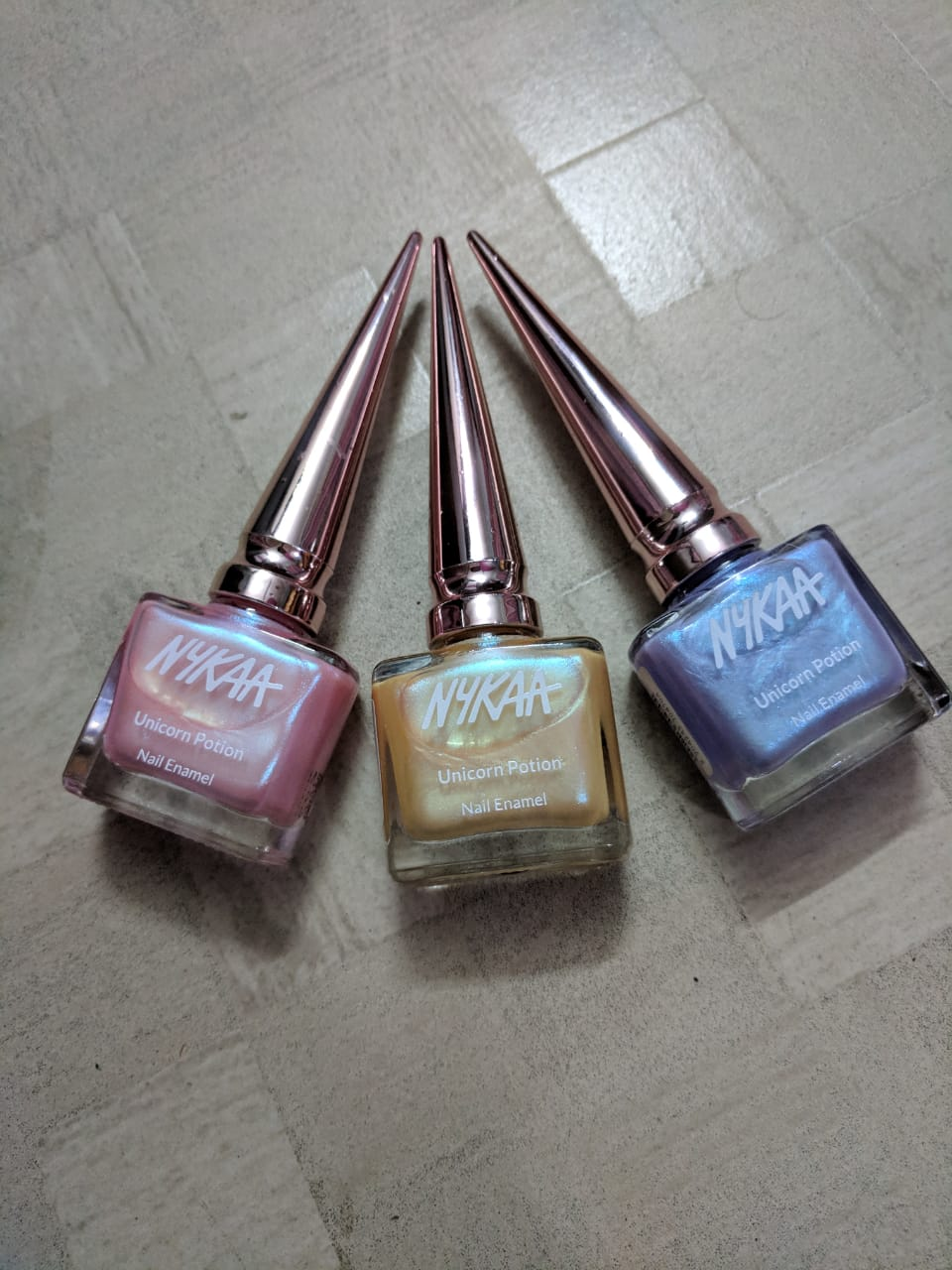 Nykaa Unicorn Potion Nail Enamel Review & Swatches  Frosted fairy, Sugar n spice, Pink peony